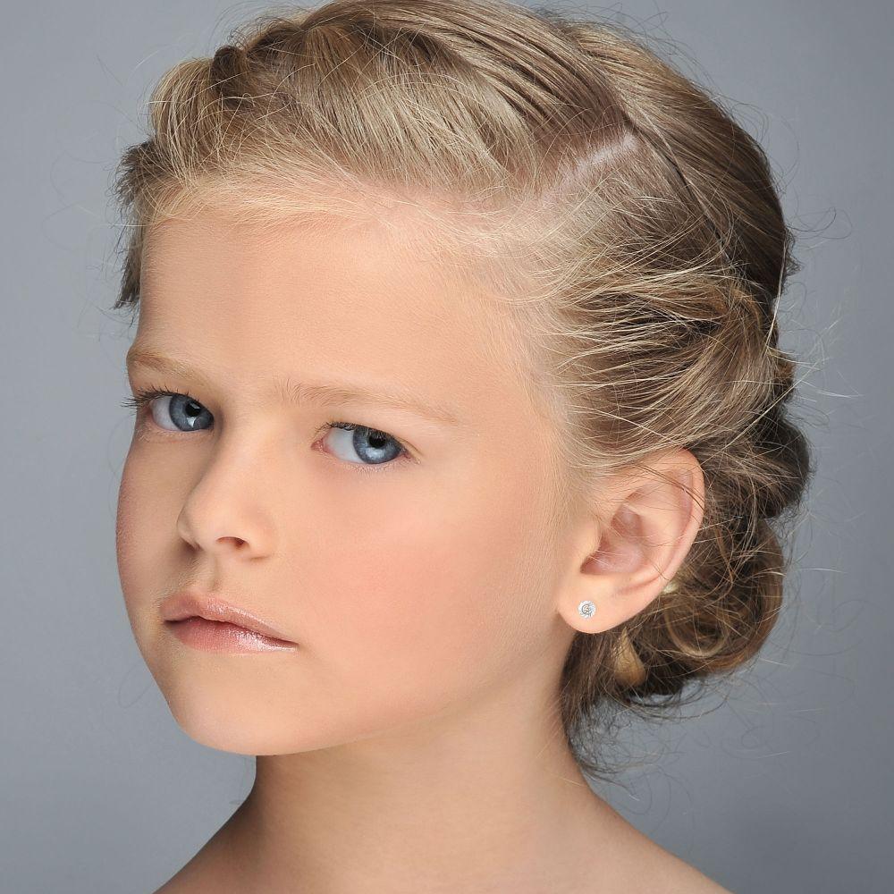 תכשיטים מזהב לילדות | עגילים צמודים מזהב לבן 14 קראט - עיגול קטיה - קטן
