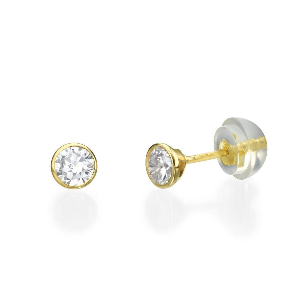תכשיטים מזהב לילדות | עגילים צמודים מזהב צהוב 14 קראט - עיגול מוניקה - קטן