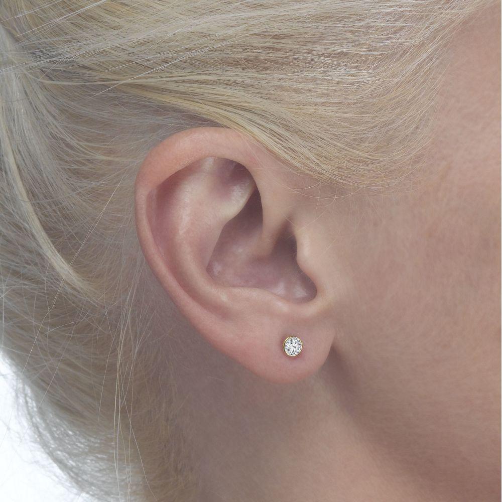 תכשיטים מזהב לילדות | עגילי זהב צמודים -  עיגול מוניקה-קטן