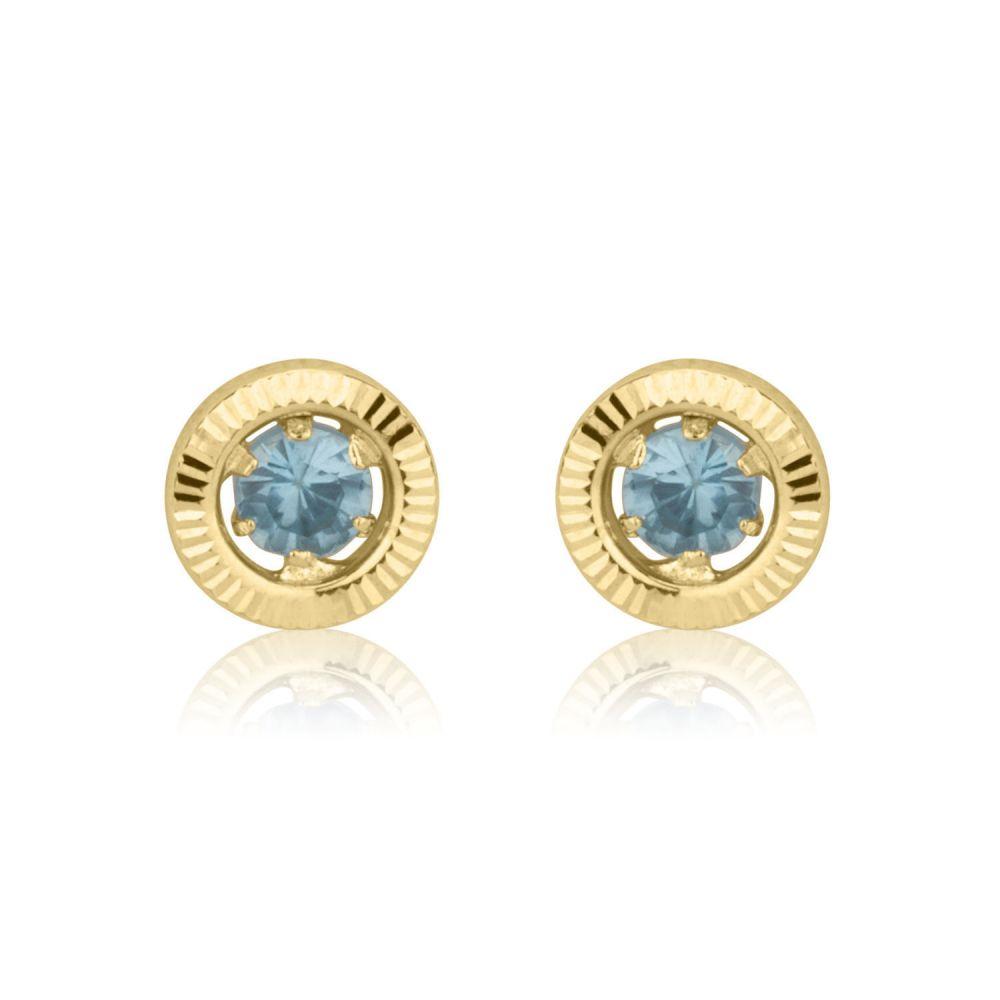 תכשיטים מזהב לילדות | עגילים צמודים מזהב צהוב 14 קראט - עיגול טופזית - קטן