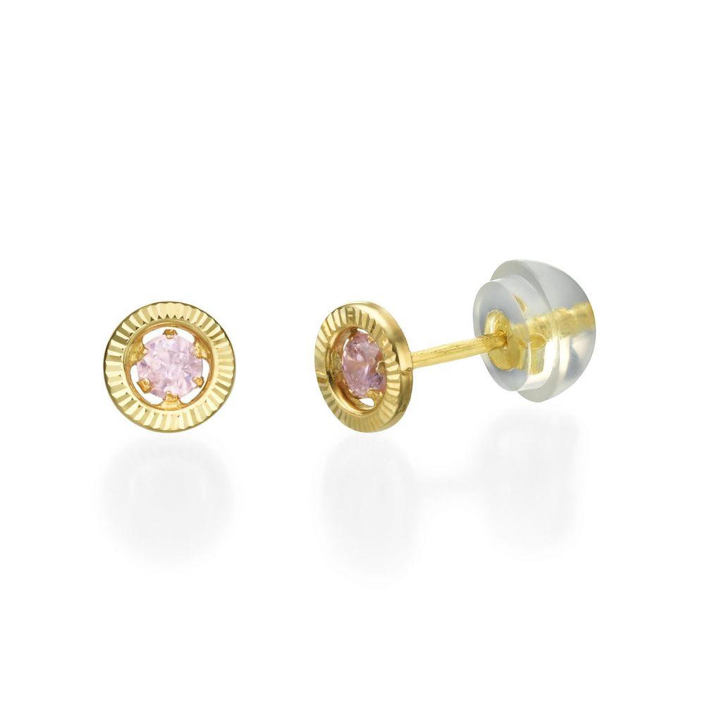 תכשיטים מזהב לילדות | עגילים צמודים מזהב צהוב 14 קראט - עיגול שייני - קטן