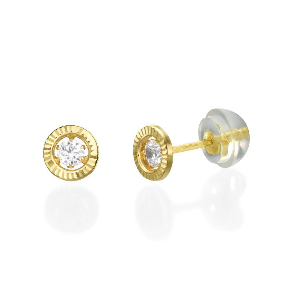 תכשיטים מזהב לילדות | עגילים צמודים מזהב צהוב 14 קראט - עיגול קריסטל - קטן
