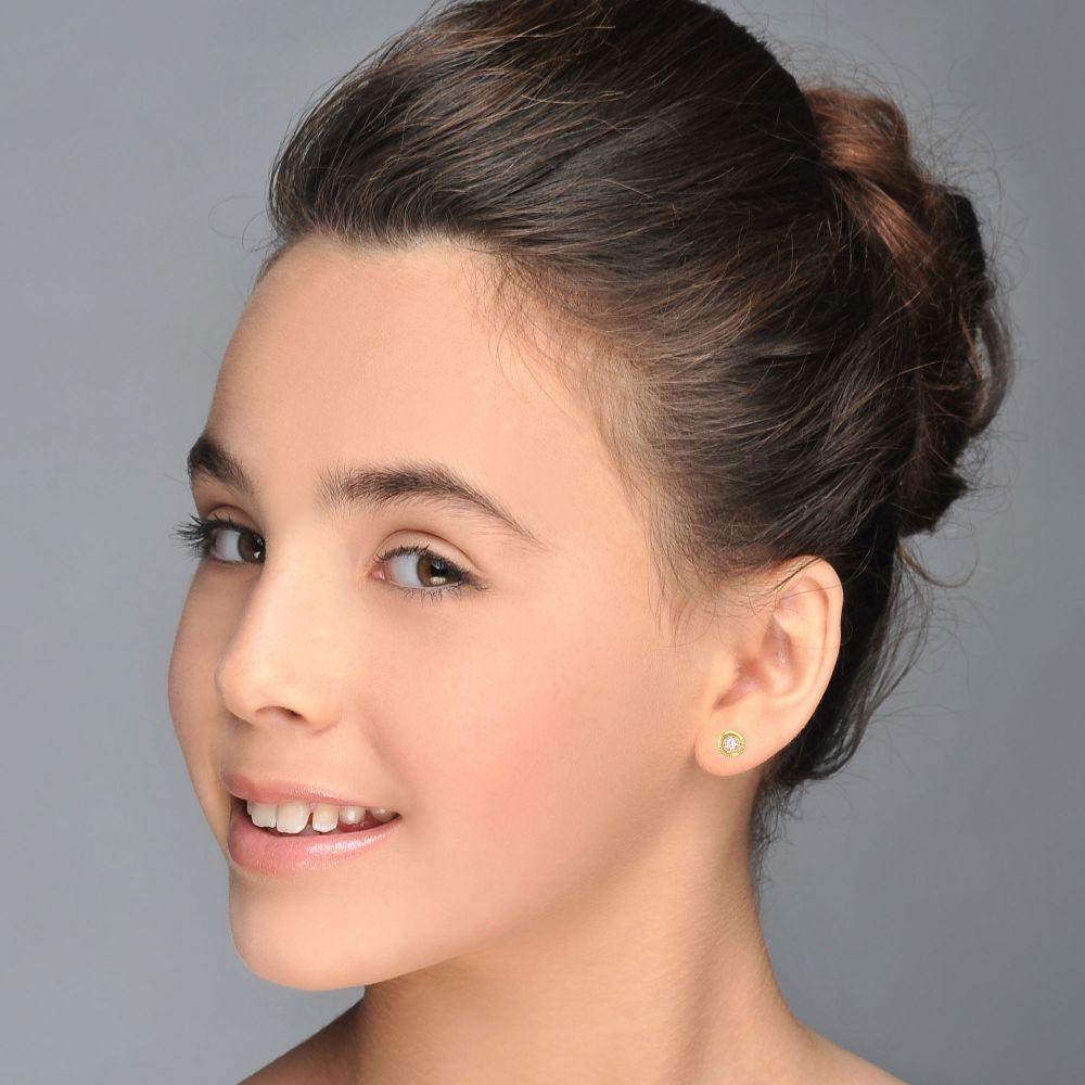 תכשיטים מזהב לילדות | עגילי זהב צמודים -  עיגול קריסטל-קטן