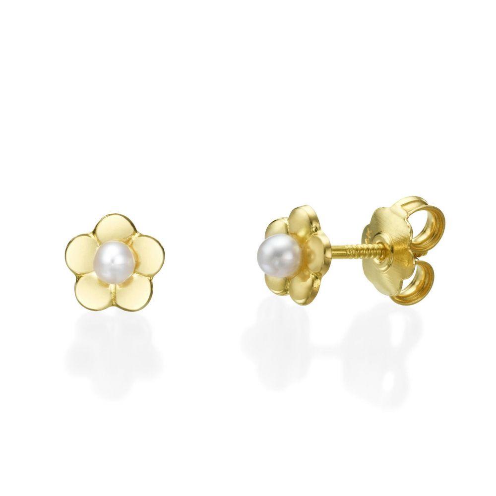 תכשיטים מזהב לילדות | עגילים צמודים מזהב צהוב 14 קראט - פנינה פורחת