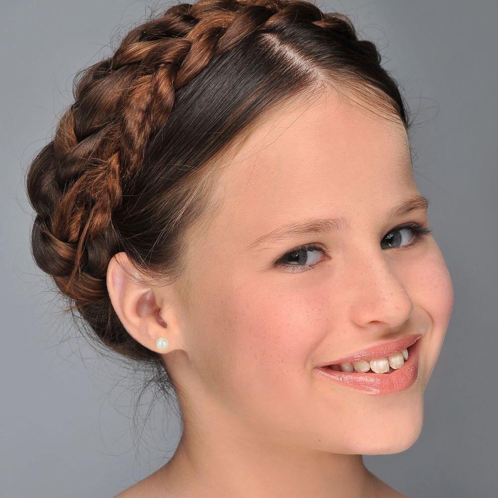 תכשיטים מזהב לילדות | עגילים צמודים מזהב צהוב 14 קראט - פנינה מלכותית
