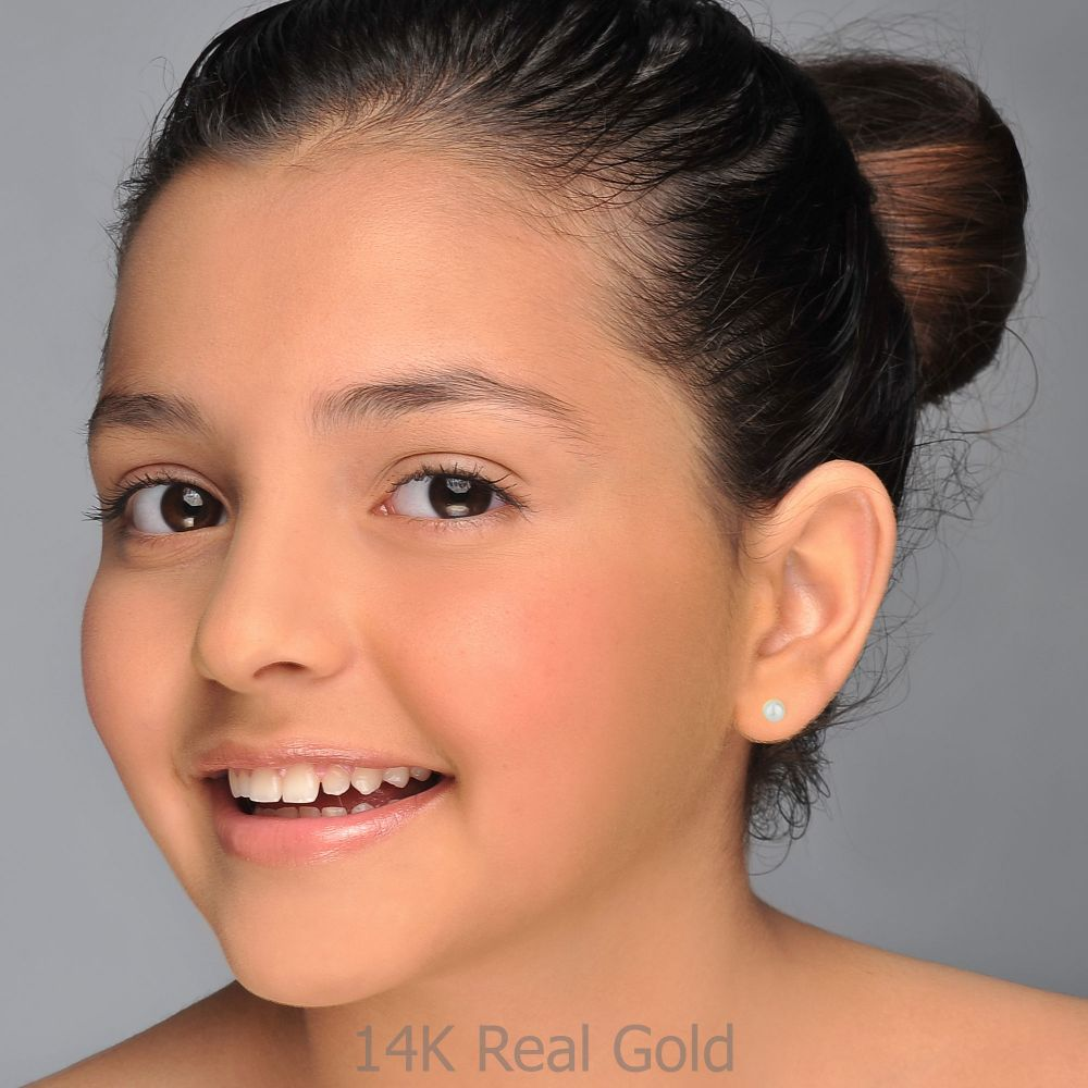 תכשיטים מזהב לילדות | עגילי זהב צמודים -  פנינה מלכותית-קטן