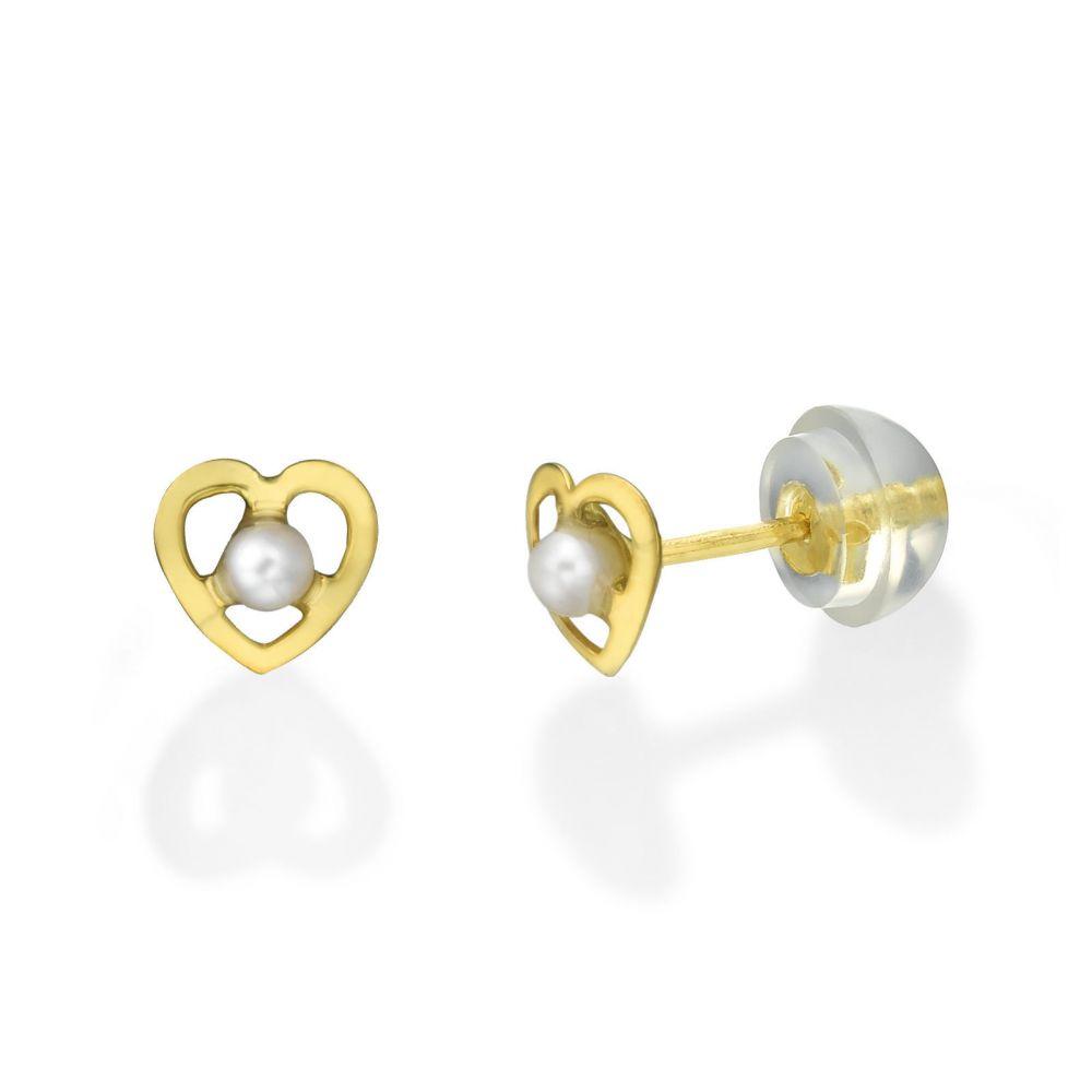 תכשיטים מזהב לילדות | עגילים צמודים מזהב צהוב 14 קראט - פנינה שונטל