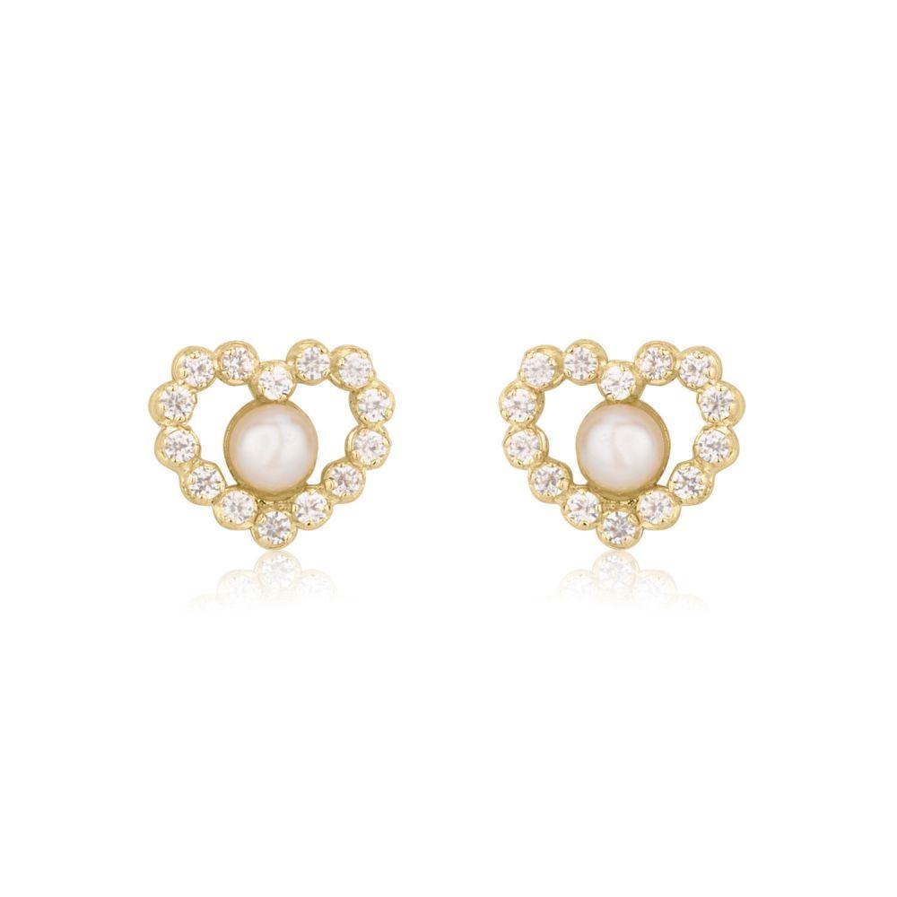 תכשיטים מזהב לילדות | עגילים צמודים מזהב צהוב 14 קראט - פנינה מרלין