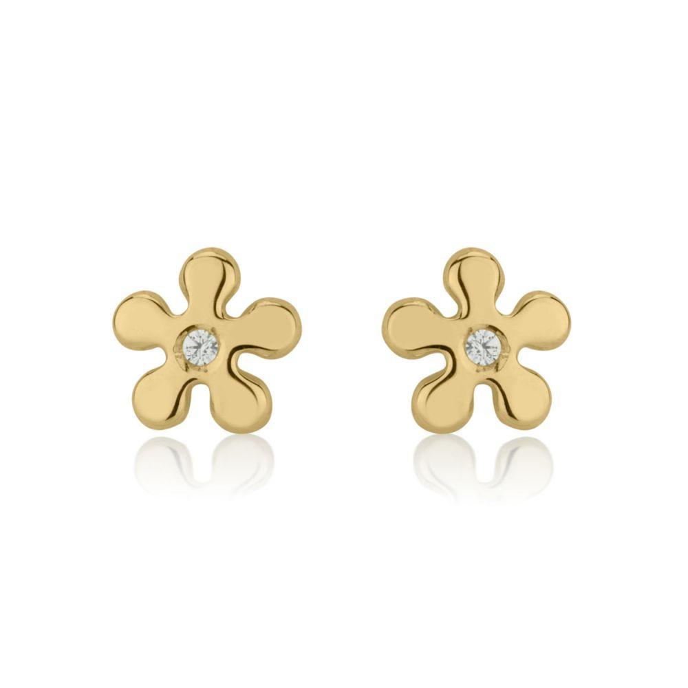 תכשיטים מזהב לילדות | עגילים צמודים מזהב צהוב 14 קראט - פרח איימי