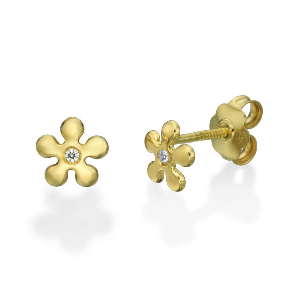 תכשיטים מזהב לילדות | עגילי זהב צמודים -  פרח איימי