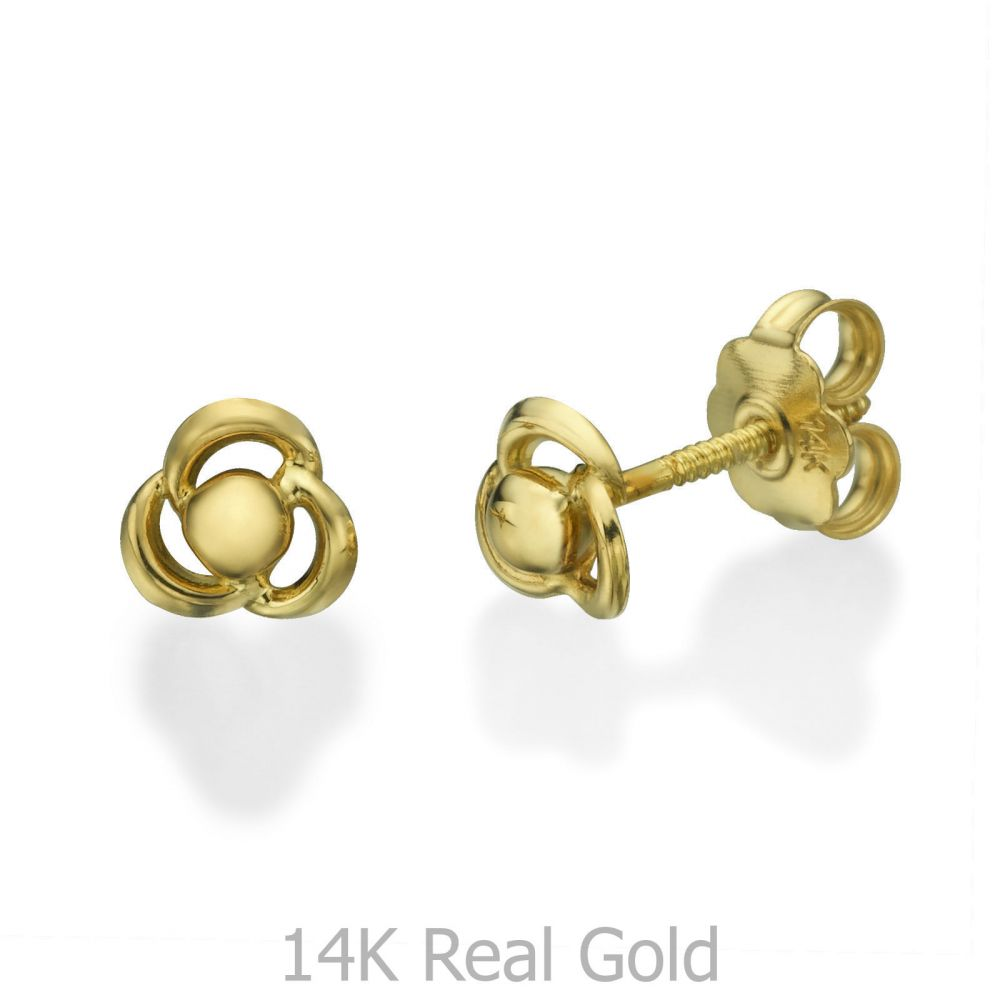 תכשיטים מזהב לילדות | עגילים צמודים מזהב צהוב 14 קראט - פרח מילי