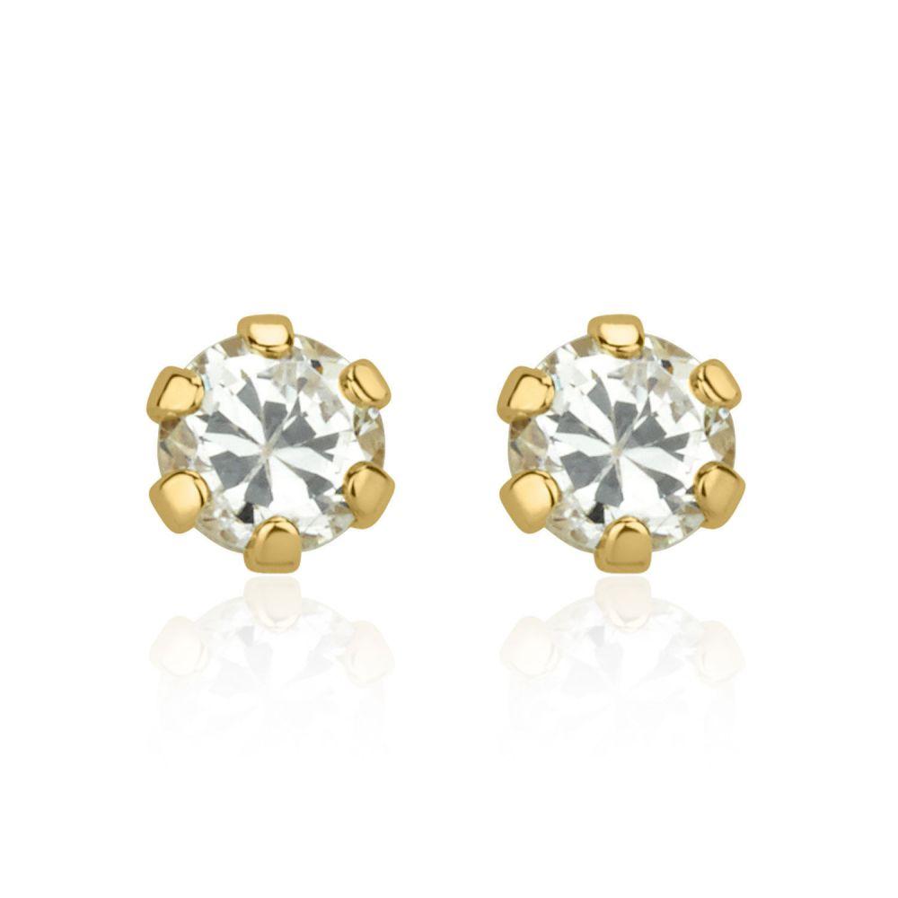 תכשיטים מזהב לילדות | עגילים צמודים מזהב צהוב 14 קראט - פרח הלנה