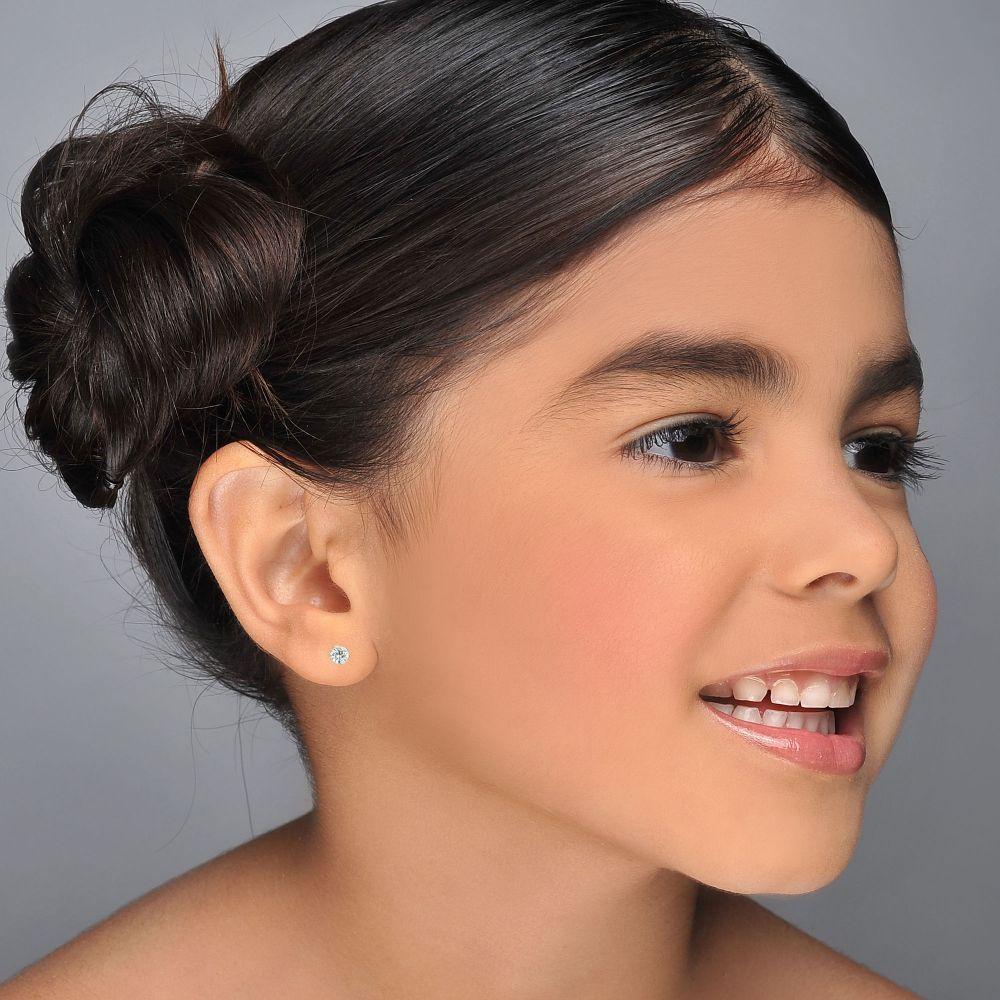 תכשיטים מזהב לילדות | עגילים צמודים מזהב לבן 14 קראט - פרח אליס
