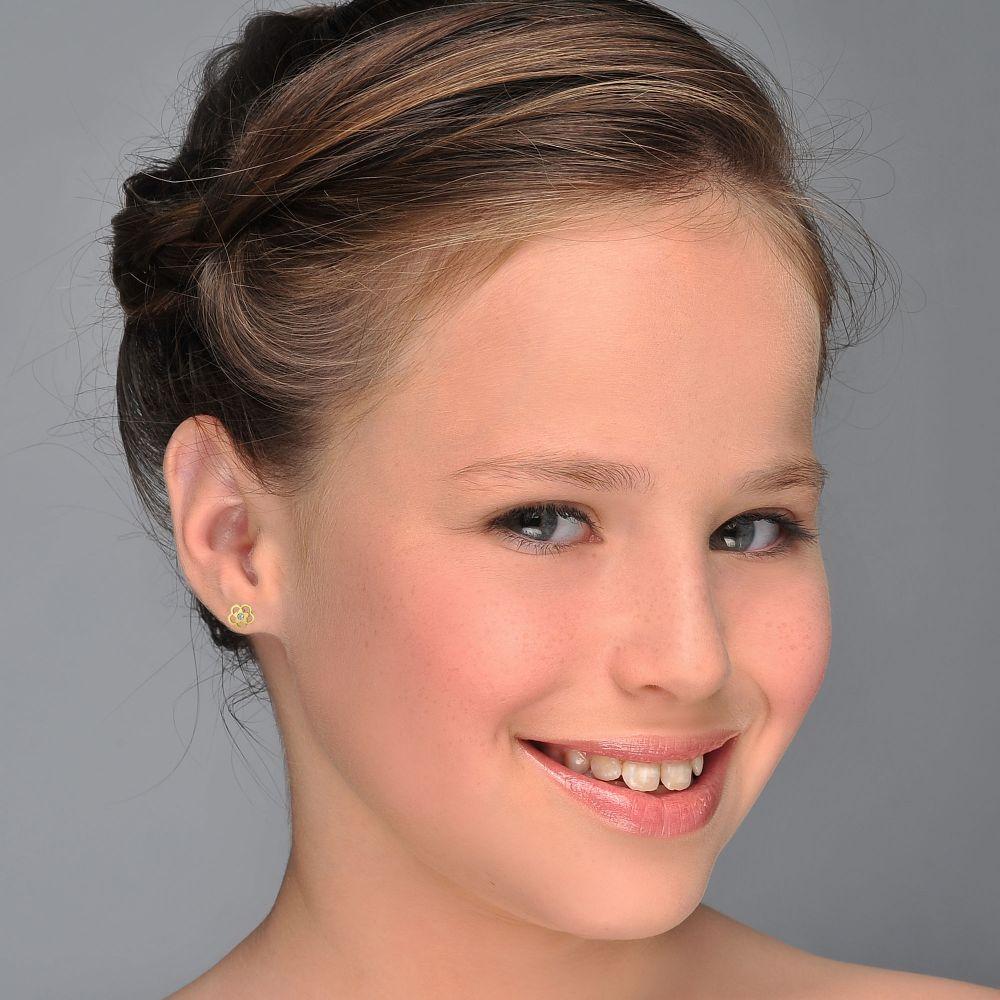 תכשיטים מזהב לילדות | עגילי זהב צמודים -  פרח אנט