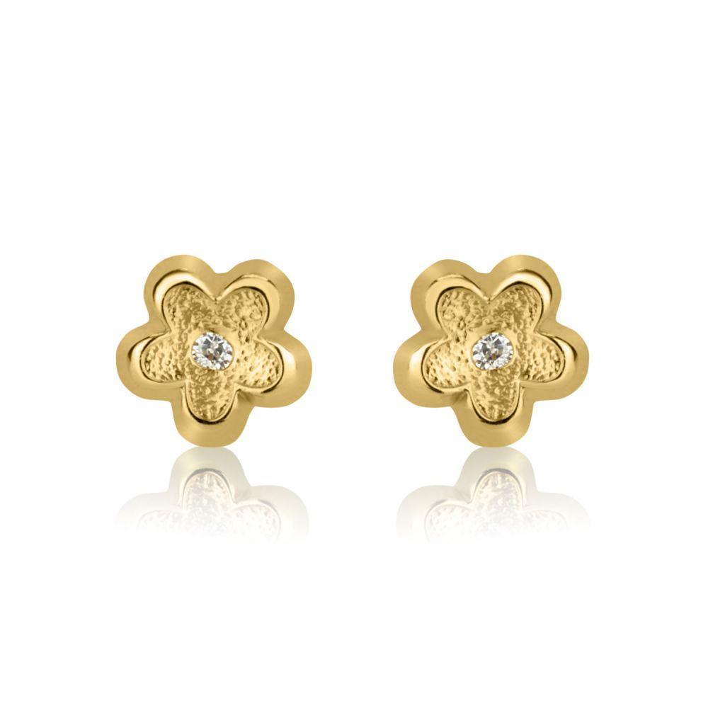 תכשיטים מזהב לילדות | עגילים צמודים מזהב צהוב 14 קראט - פרח ברברה