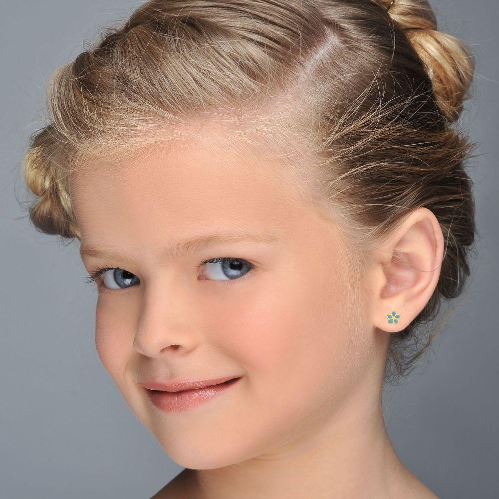 תכשיטים מזהב לילדות | עגילי זהב צמודים -  פרח מרגנית