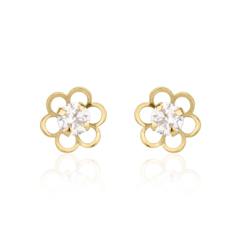 תכשיטים מזהב לילדות | עגילים צמודים מזהב צהוב 14 קראט - פרח פלורי גדול
