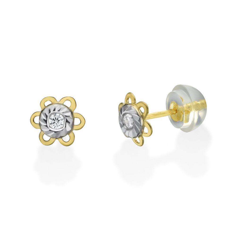 תכשיטים מזהב לילדות | עגילי זהב צמודים -  פרח לבן צהוב