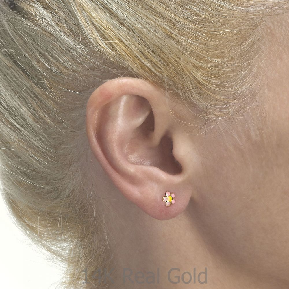 תכשיטים מזהב לילדות | עגילים צמודים מזהב צהוב 14 קראט - פרח רוזטה