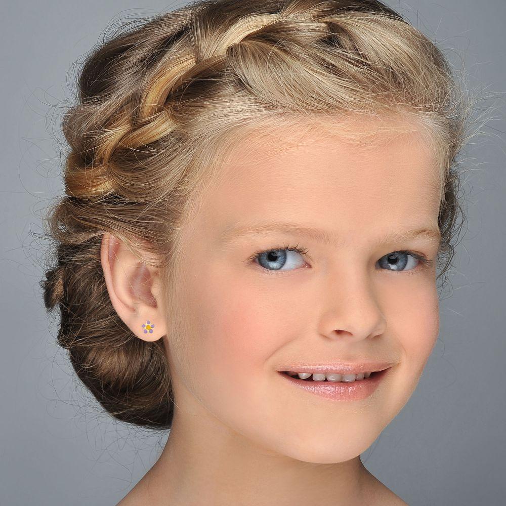 תכשיטים מזהב לילדות | עגילים צמודים מזהב צהוב 14 קראט - פרח איריס