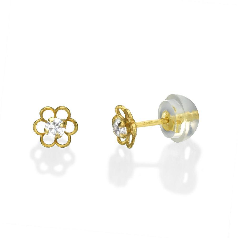 תכשיטים מזהב לילדות | עגילים צמודים מזהב צהוב 14 קראט - פרח פלורי קטן
