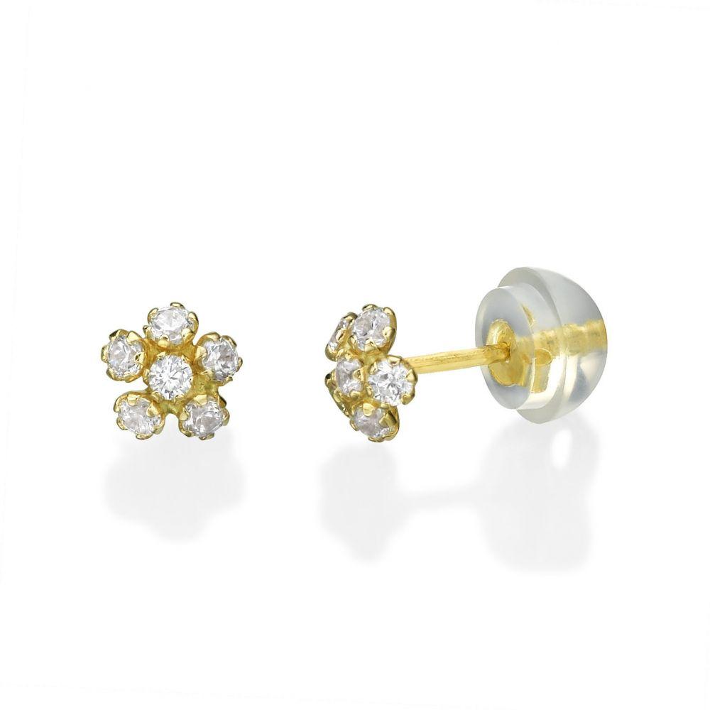 תכשיטים מזהב לילדות | עגילים צמודים מזהב צהוב 14 קראט - פרח מיוחד