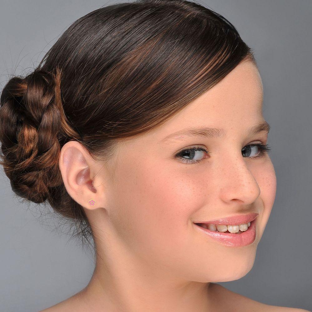 תכשיטים מזהב לילדות | עגילים צמודים מזהב צהוב 14 קראט - פרח לוטם