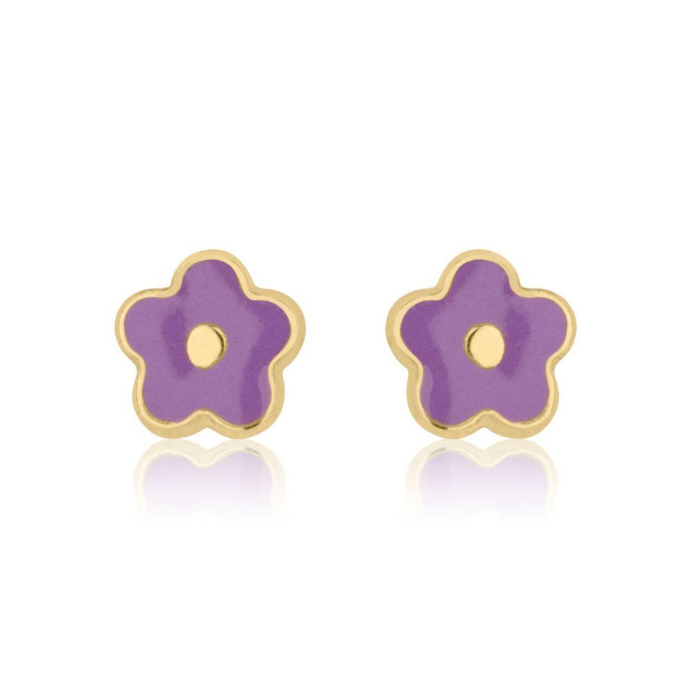 תכשיטים מזהב לילדות | עגילים צמודים מזהב צהוב 14 קראט - פרח לילך