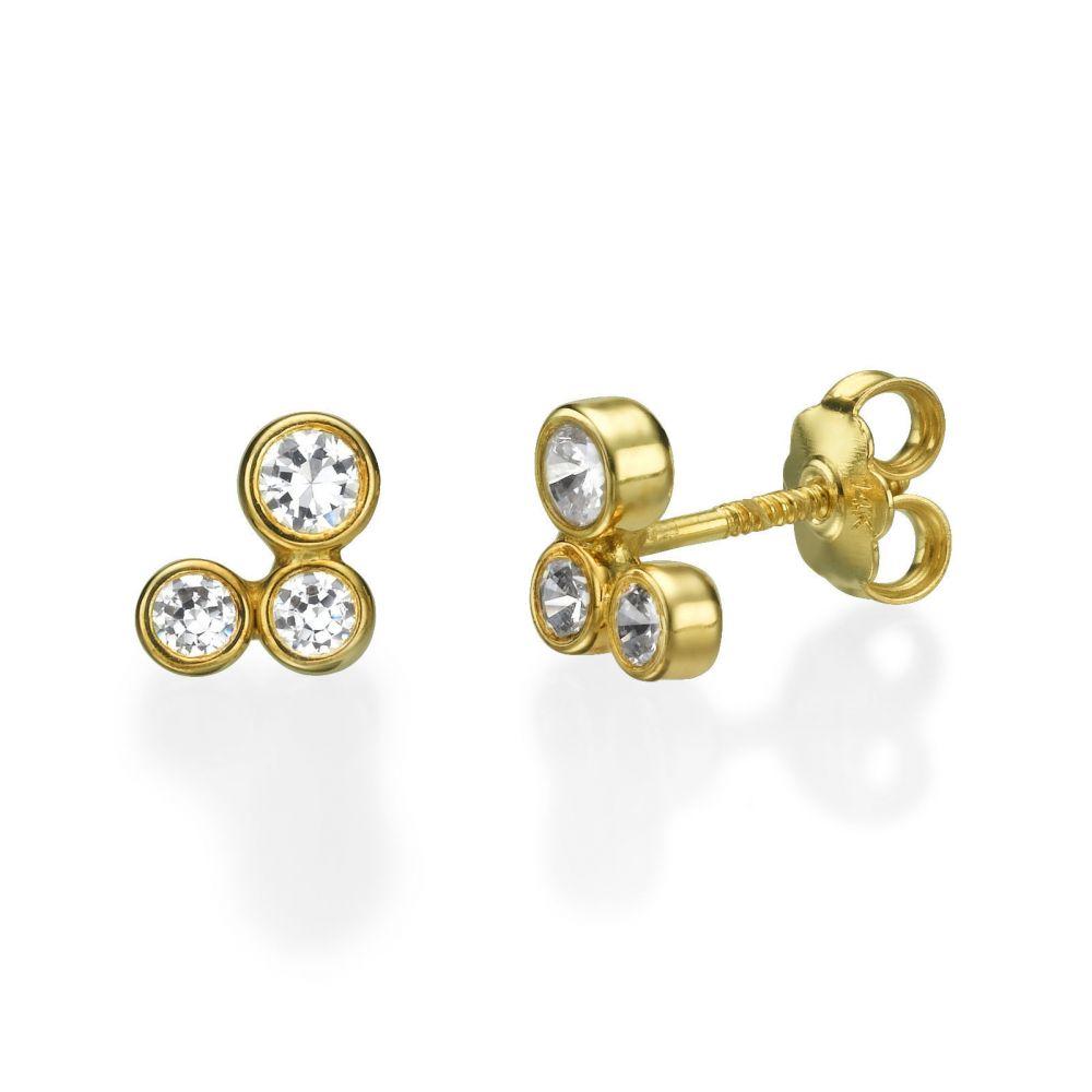 תכשיטים מזהב לילדות | עגילים צמודים מזהב צהוב 14 קראט - עיגולים מנצנצים