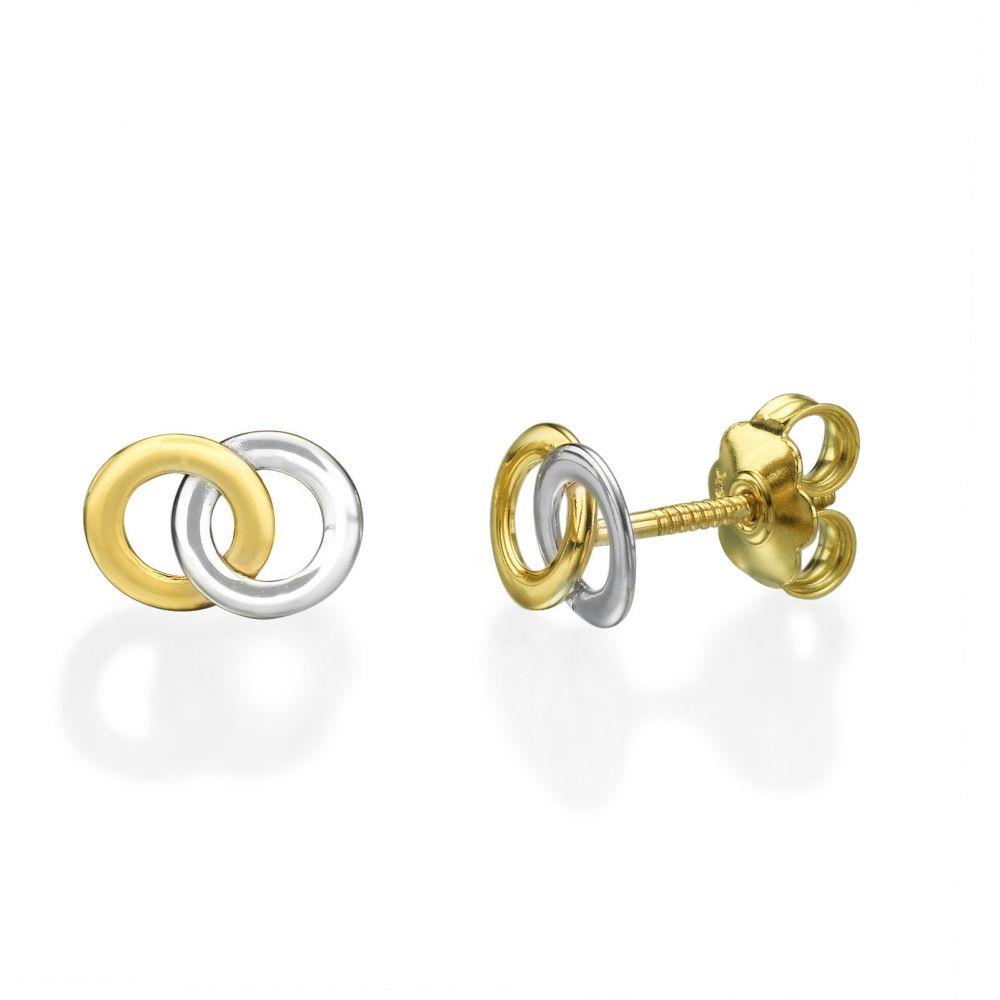 תכשיטים מזהב לילדות | עגילים צמודים מזהב צהוב ולבן 14 קראט - עיגולים משולבים