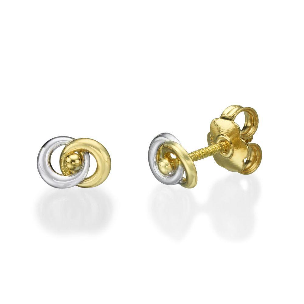 תכשיטים מזהב לילדות | עגילים צמודים מזהב צהוב ולבן 14 קראט - עיגולים משתלבים