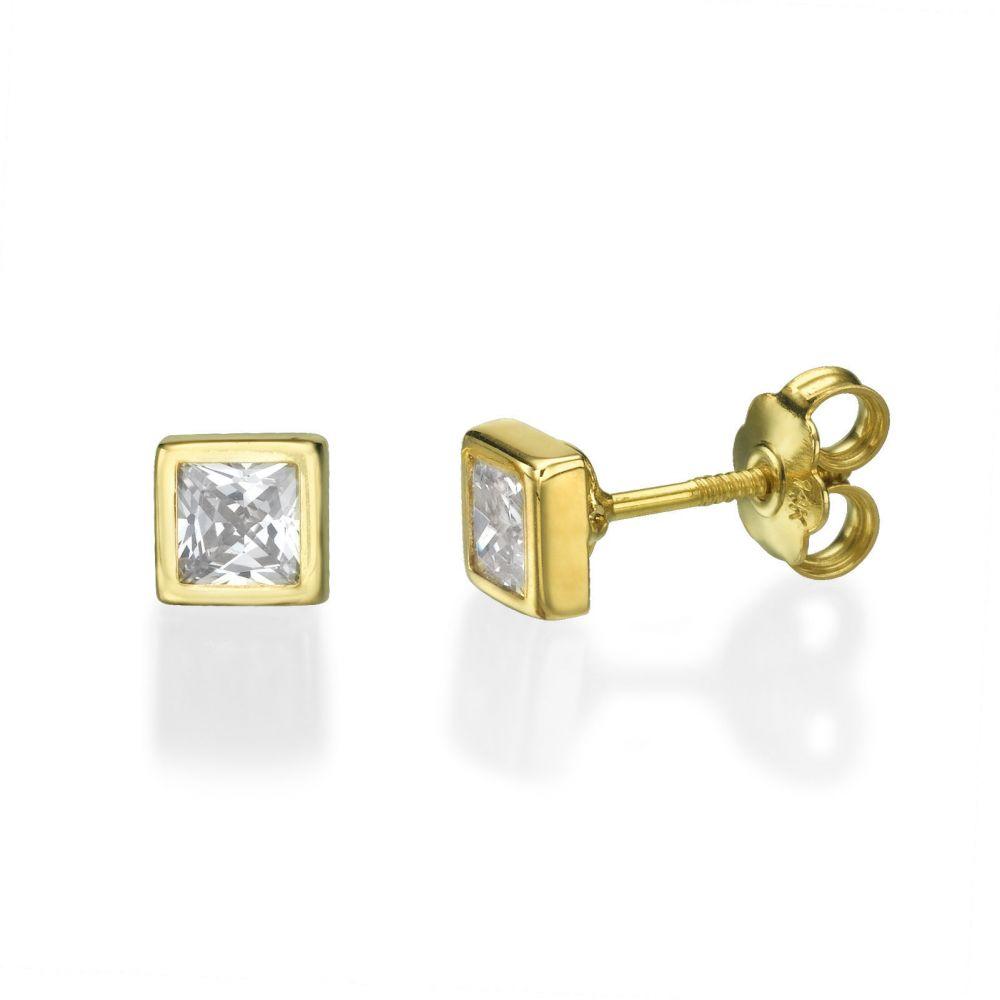 תכשיטים מזהב לילדות | עגילי זהב צמודים -  ריבוע מנצנץ-גדול