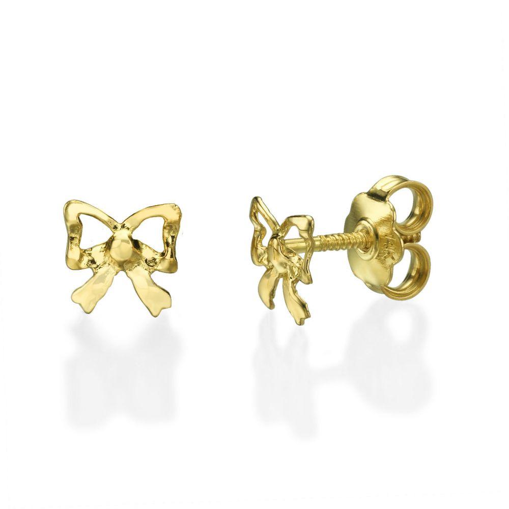תכשיטים מזהב לילדות | עגילים צמודים מזהב צהוב 14 קראט - פפיון עדין