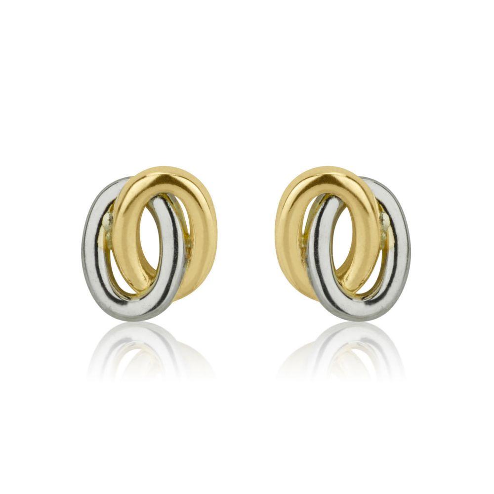 תכשיטים מזהב לילדות | עגילים צמודים מזהב צהוב ולבן 14 קראט - עיגולים אליפסיים