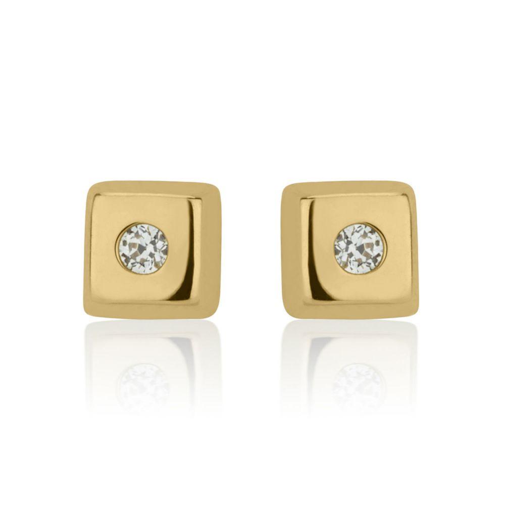 תכשיטים מזהב לילדות | עגילי זהב צמודים -  ריבוע מנצנץ