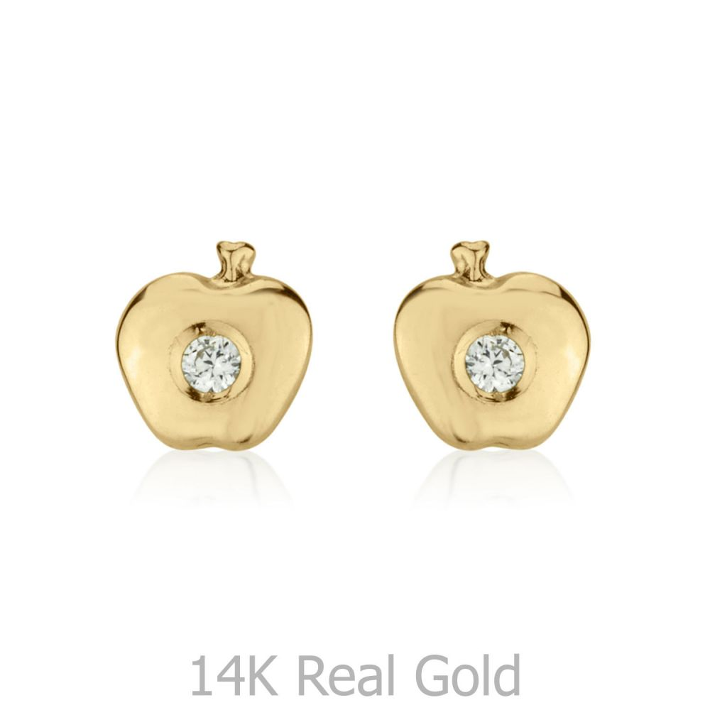 תכשיטים מזהב לילדות | עגילי זהב צמודים -  תפוח מנצנץ