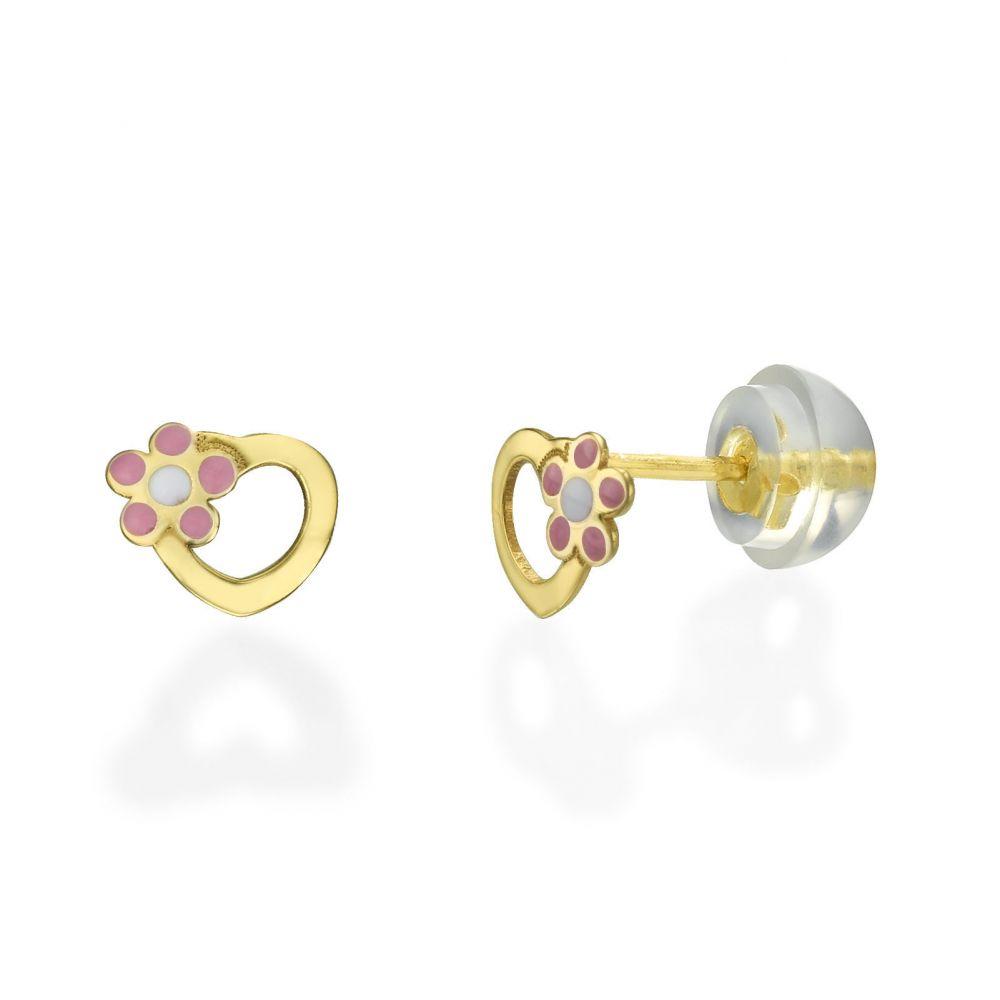 תכשיטים מזהב לילדות | עגילים צמודים מזהב צהוב 14 קראט - לב ופרח ורדית