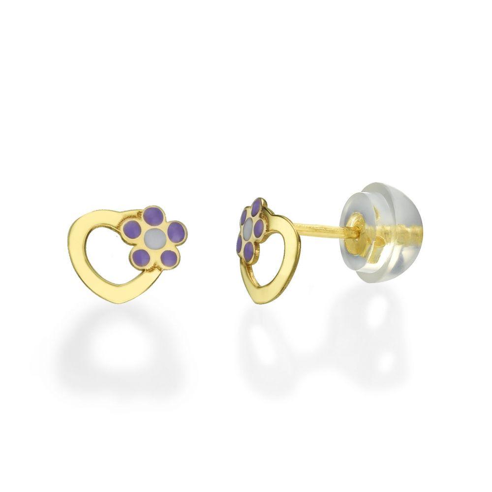 תכשיטים מזהב לילדות | עגילי זהב צמודים -  לב ופרח סיגלית