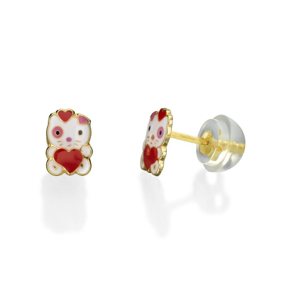 תכשיטים מזהב לילדות | עגילים צמודים מזהב צהוב 14 קראט - בובה אהבה