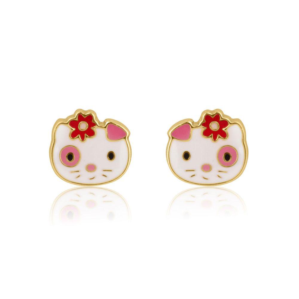 תכשיטים מזהב לילדות | עגילים צמודים מזהב צהוב 14 קראט - בובה אביבית