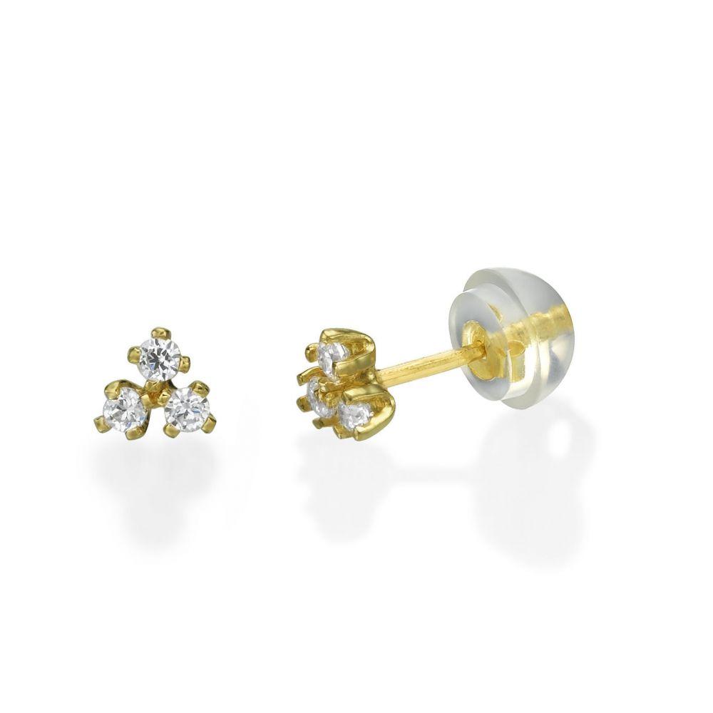 תכשיטים מזהב לילדות | עגילים צמודים מזהב צהוב 14 קראט - ריבועים פירמידה