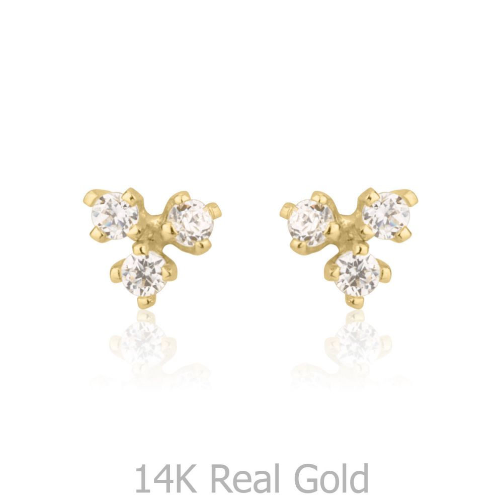 תכשיטים מזהב לילדות | עגילי זהב צמודים -  ריבועים פירמידה
