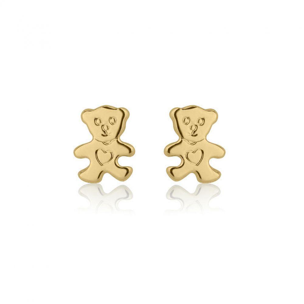 תכשיטים מזהב לילדות | עגילים צמודים מזהב צהוב 14 קראט - דובי חמודי