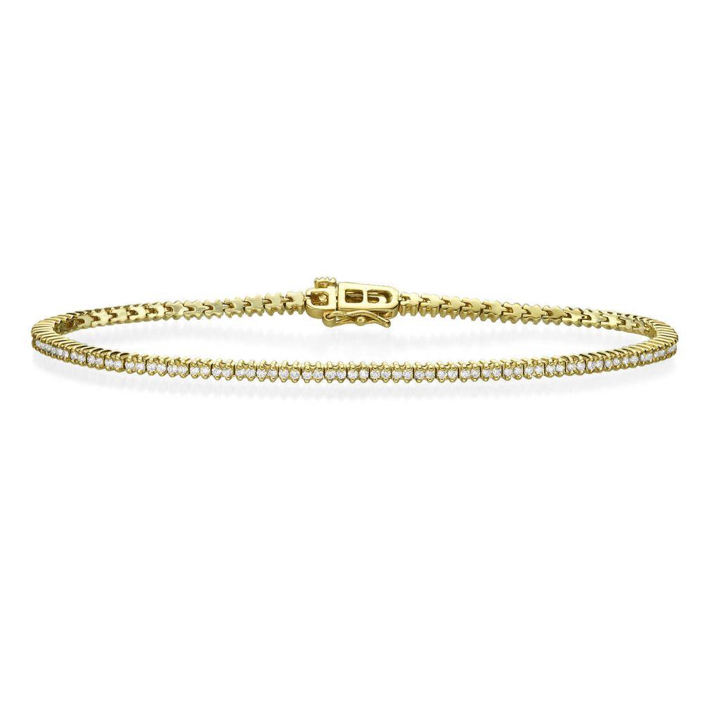 תכשיטי יהלומים | צמיד טניס יהלומים שתי שיניים מזהב צהוב 14 קראט - אליזבת