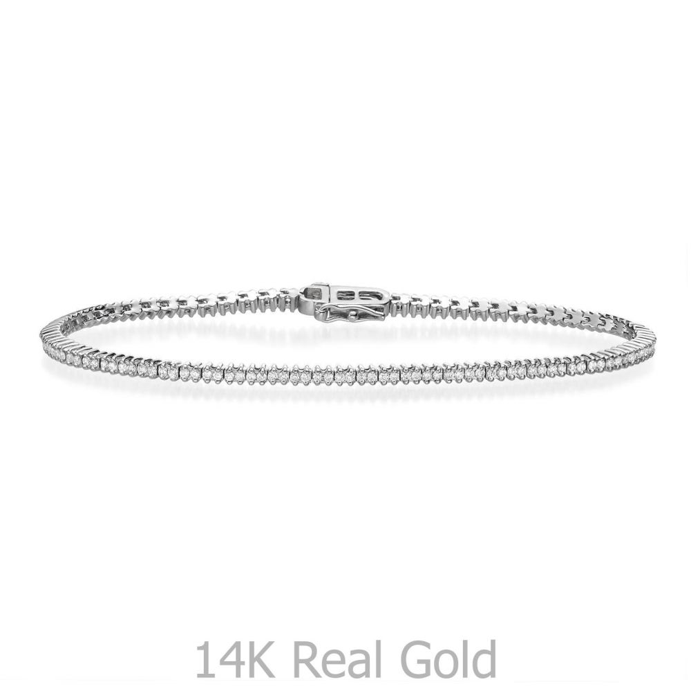 תכשיטי יהלומים | צמיד טניס יהלומים שתי שיניים מזהב לבן 14 קראט - אליזבת