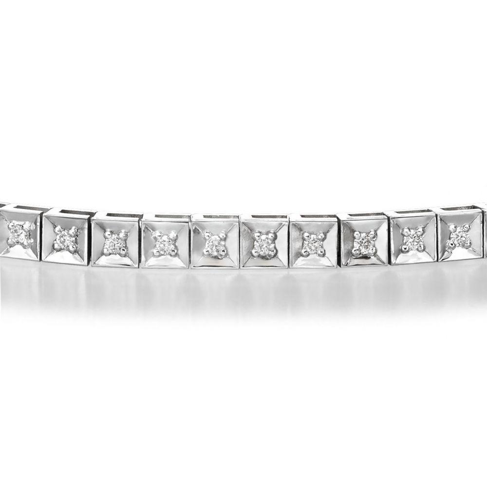 תכשיטי יהלומים | צמיד טניס יהלומים שוקולד מזהב לבן 14 קראט - ג'ניפר