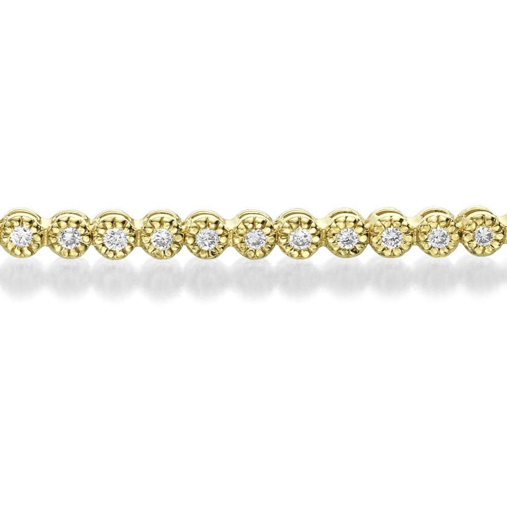 תכשיטי יהלומים | צמיד טניס יהלומים מילנו מזהב צהוב 14 קראט - שרלוט