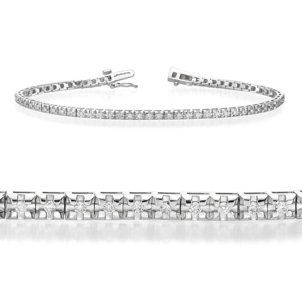 תכשיטי יהלומים | צמיד טניס יהלומים פירמידה מזהב לבן 14 קראט - קייט