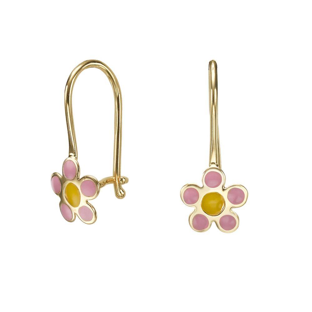 עגילי זהב | עגילים תלויים מזהב צהוב 14 קראט - פרח סייאה ורוד