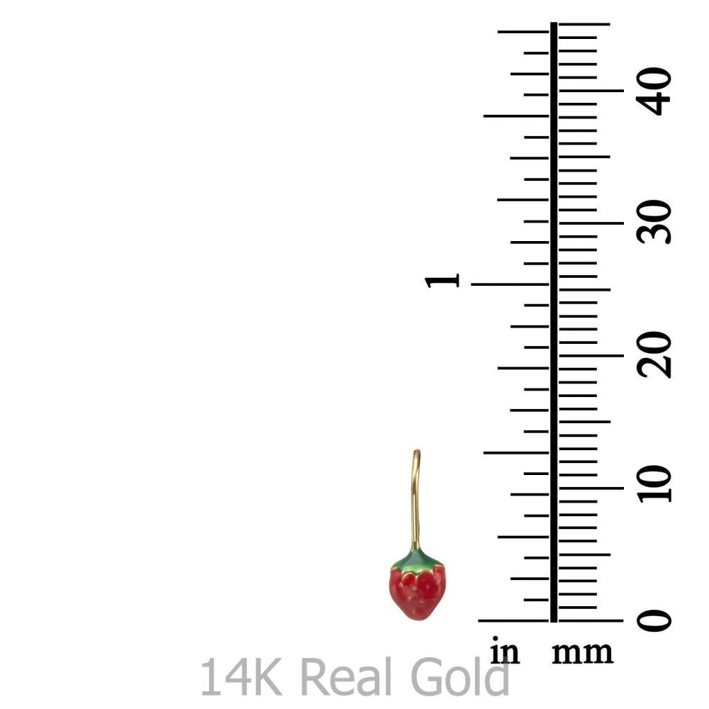 תכשיטים מזהב לילדות | עגילים תלויים מזהב צהוב 14 קראט - תות עדן
